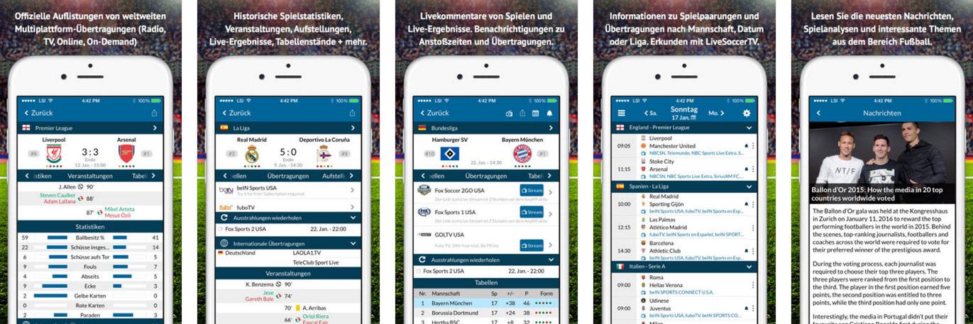 Live Soccer TV App für iOS