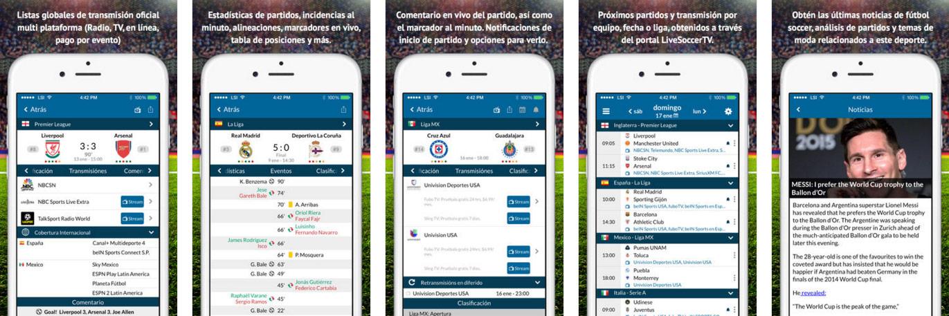 App de Live Soccer TV para iOS