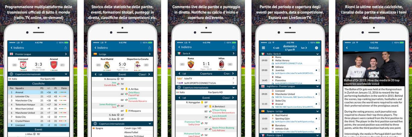 App di Live Soccer TV per iOS