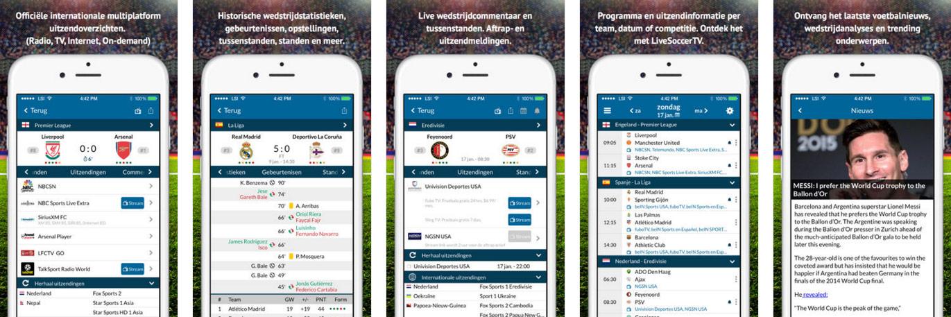 Live Soccer TV App voor iOS
