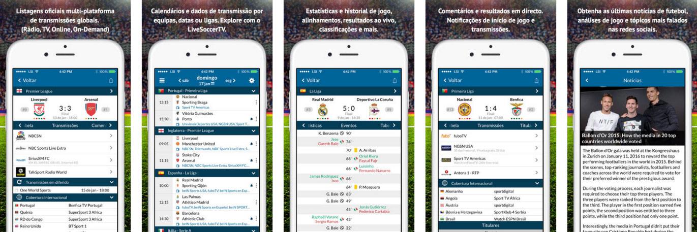 Aplicação Live Soccer TV para iOS