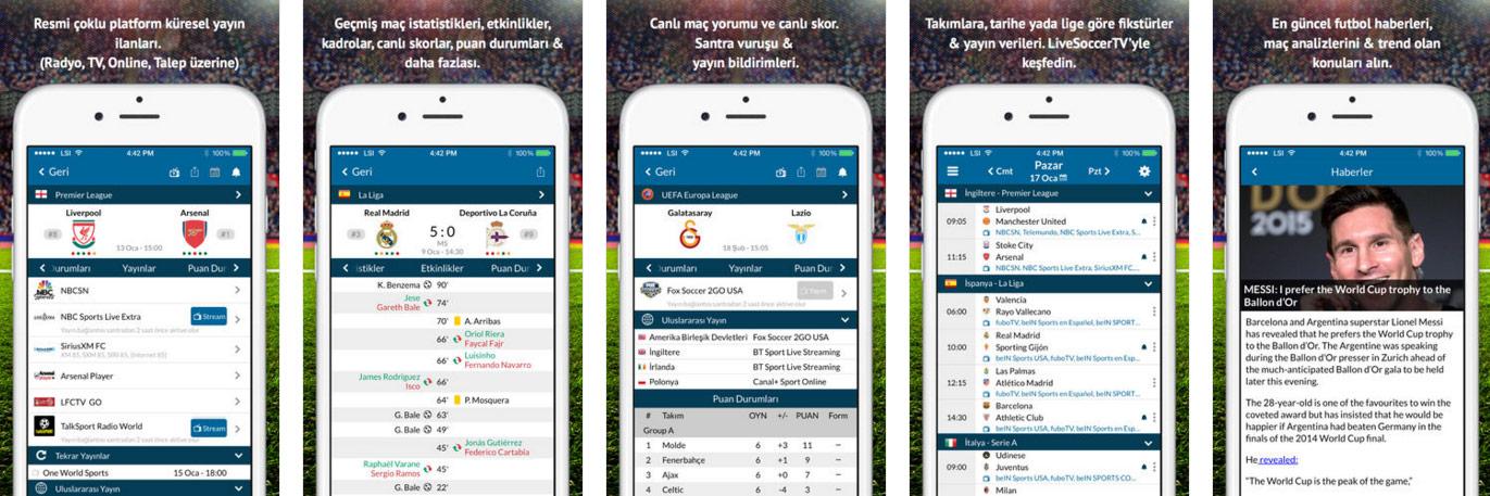 iOS için Live Soccer TV Uygulaması