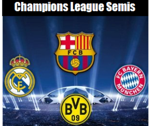 Bayern-Barcelona and Dortmund-Real Madrid complete the 2012/13 UEFA Champions League semi-final line-up.