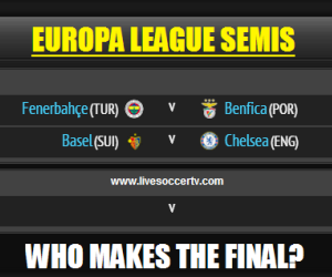 Watch the UEFA Europa League semis live - Fenerbahce vs Benfica and Basel vs Chelsea live on Thursday, April 25, 2013.