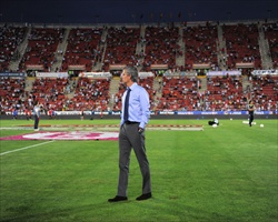 Coach Jose Mourinho walking on the pitch after Real Madrid's 0-0 goalless draw with Mallorca in La Liga