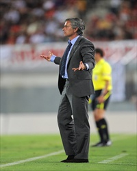 Jose Mourinho of Real Madrid gesturing in the game against Mallorca in La Liga