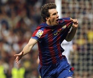 Barcelona's Lionel Messi celebrating in El Clasico after scoring against Real Madrid at the Bernabeu Stadium in April 2010