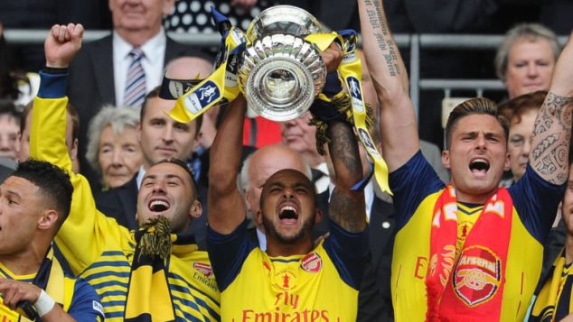 Walcott with the FA Cup trophy