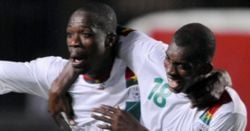 Burkina Faso' national team players celebrating after scoring a goal