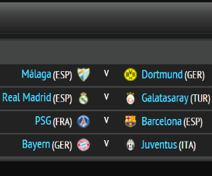 2012/13 Champions League quarter-final draw live: Malaga vs Dortmund, Real Madrid vs Galatasaray, PSG vs Barcelona, Bayern vs Juventus
