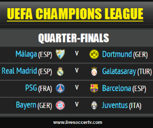 Watch two UEFA Champions League quarter-final matches live - PSG vs Barcelona and Bayern Munich vs Juventus - on Tuesday, April 2, 2013.