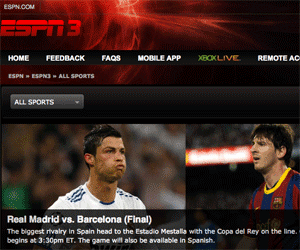 ESPN3 showing Barcelona vs Real Madrid.