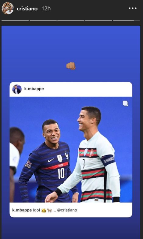 Cristiano, Mbappe, UEFA Nations League, France, Portugal, Instagram