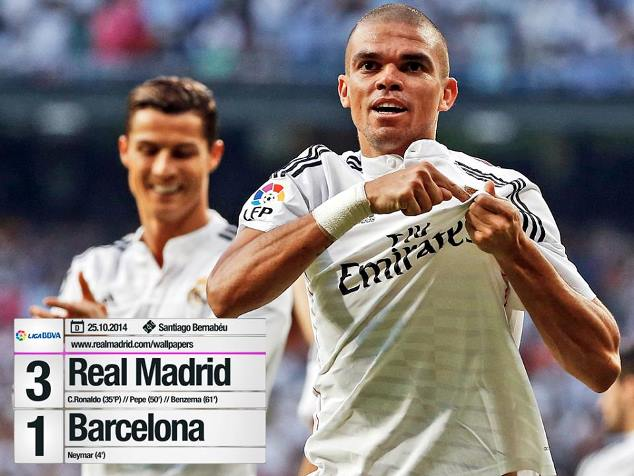 Pepe scored as Real Madrid beat Barcelona 3-1 in El Clasico in October 2014