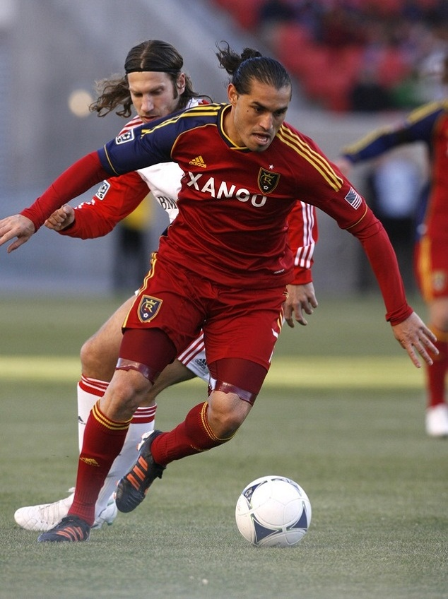 Espindola (front) in action against Real Salk Lake vs Toronto FC in the MLS