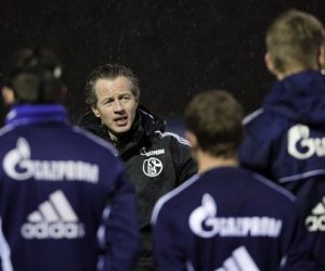 New Schalke coach Jens Keller at a training session ahead of his side's DFB Pokal fixture.