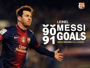 Lionel Messi ended the year 2012 with a total of 91 goals.