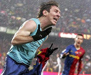 Lionel Messi celebrating after scoring Barcelona's second goal against goal against Real Madrid at the Camp Nou in 2008