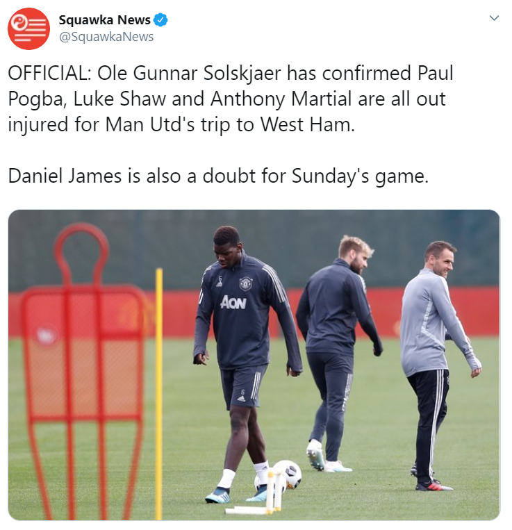 Paul Pogba, Anthony Martial, Daniel James, Luke Shaw, Manchester United, English Premier