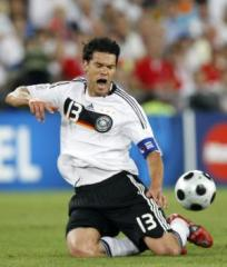 Germany's Michael Ballack suffers an injury.
