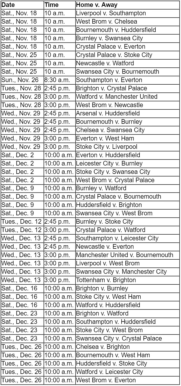 "NBC Sports Gold ""Premier League Pass"" match schedule from Nov. 18 through Boxing Day on Dec. 26"