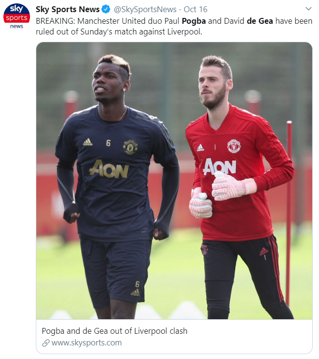 Paul Pogba, David de Gea, Manchester United, Liverpool, English Premier League