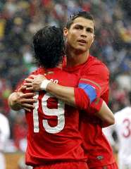 Portugal's Cristiano Ronaldo celebrates his first goal