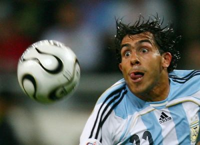 Argentina striker Carlos Tevez scored two against Mexico today