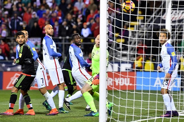 USA and Mexico players watch Rafa Marquez's 89th-minute header find the net in a. November 11, 2016