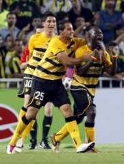 Young Boys' Bienvenue celebrates with his mates as they score against Fenerbahce.