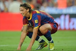Zlatan Ibrahimovic during the Juan Gamper Trophy with Barcelona