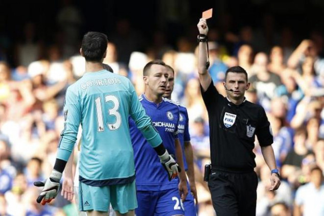 Courtois red carded in Chelsea's EPL opener