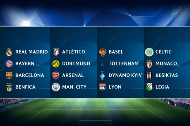 2016-17 Champions League group stage draw listings