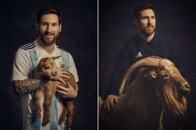 Messi in photo shoot with goats