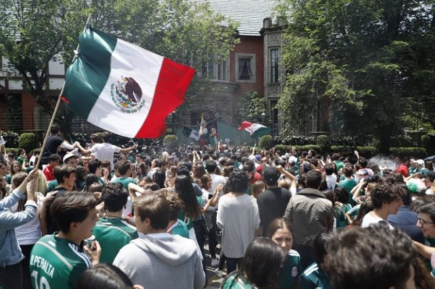 Mexican fans celebrate in South Korean embassy