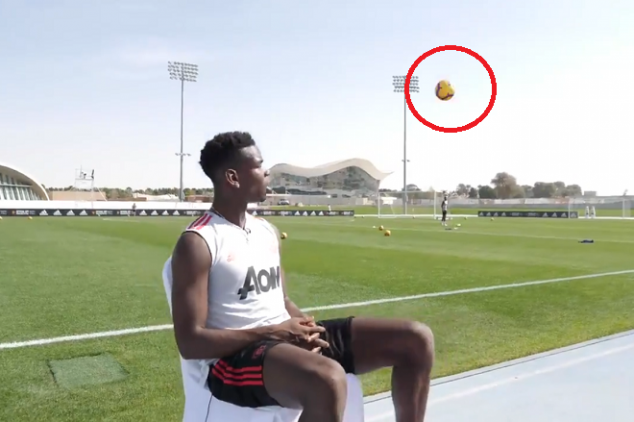 Pogba escapes being hit by a ball in interview