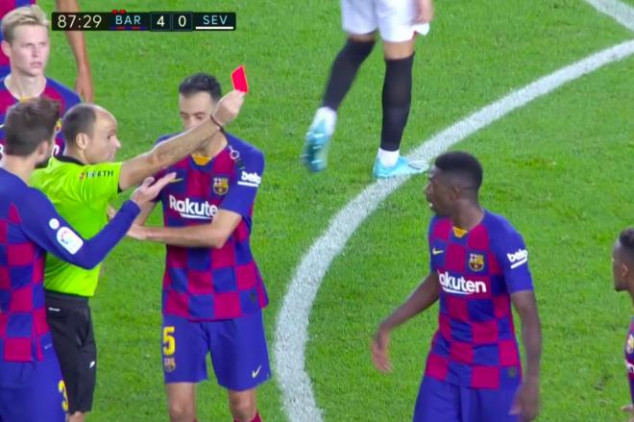 WATCH: Barca sees two reds in a row vs Sevilla