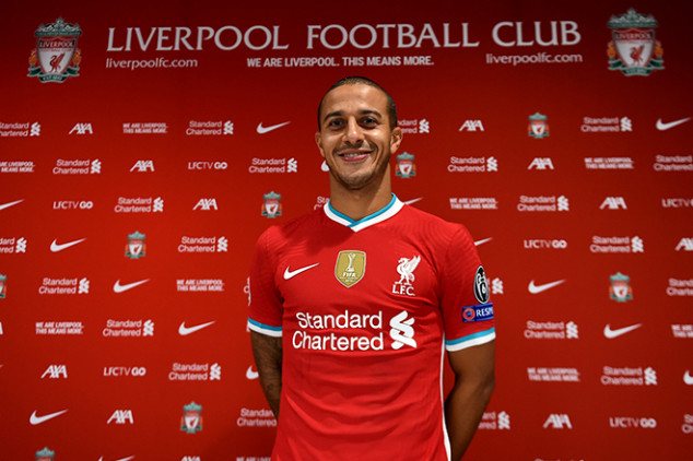 Thiago's Liverpool number revealed