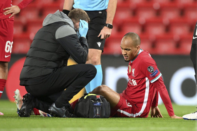 Fabinho limps off in Liverpool-Midtjylland tie