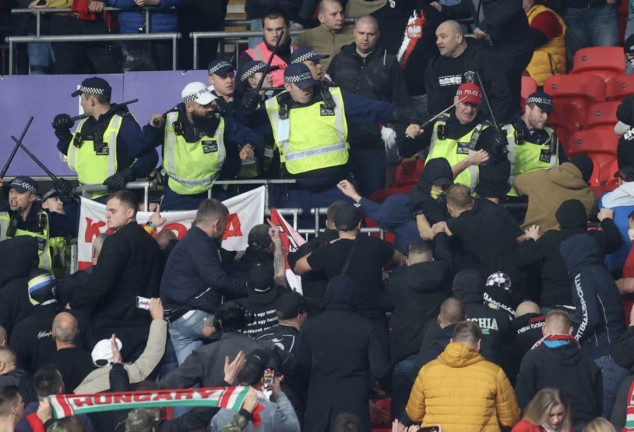 WATCH: Fans clash with police inside Wembley