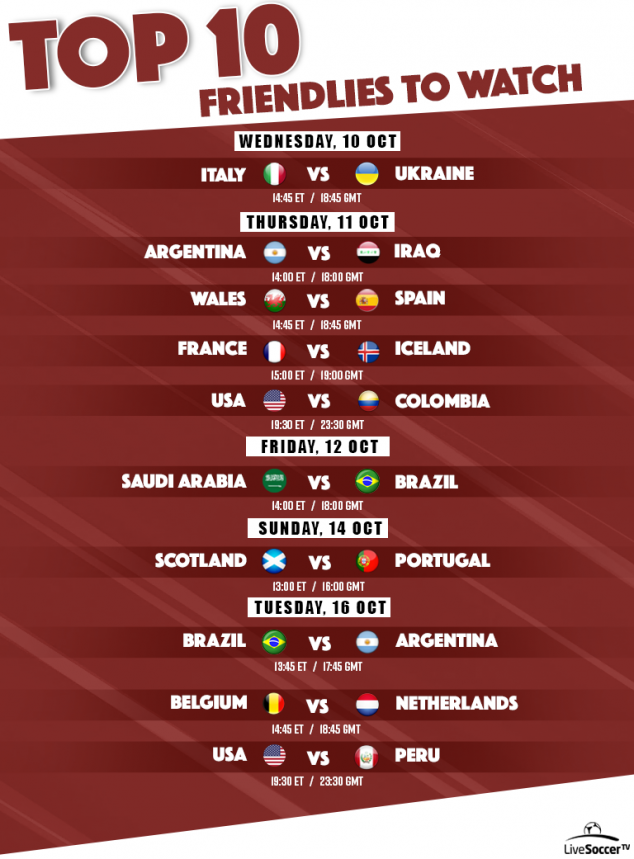 Football TV Schedules, USMNT, Brazil, Netherlands, Argentina, Colombia, Portugal, International Friendly