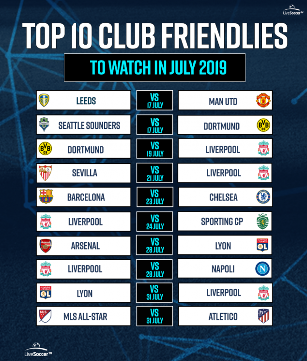 Barcelona, Liverpool, Arsenal, Manchester United, Chelsea, Lyon, Napoli, Atletico Madrid, MLS All-Star, Friendly