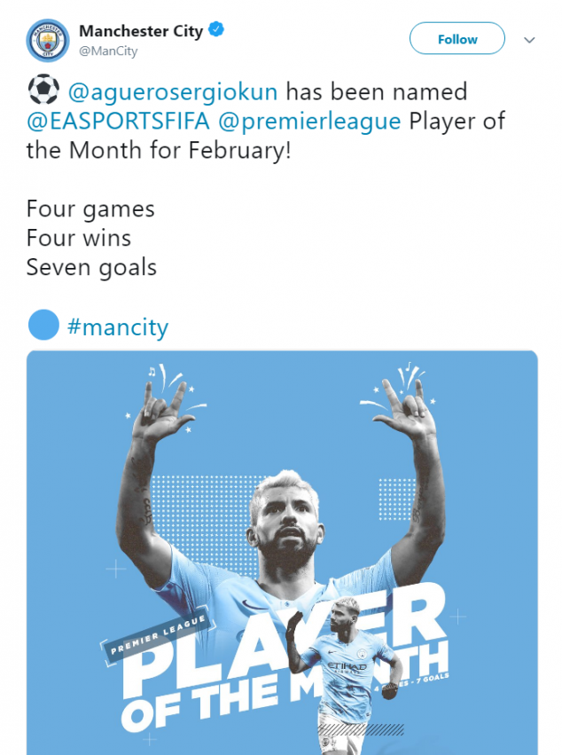 Sergio Aguero, February Player of the Month, Manchester City, English Premier League