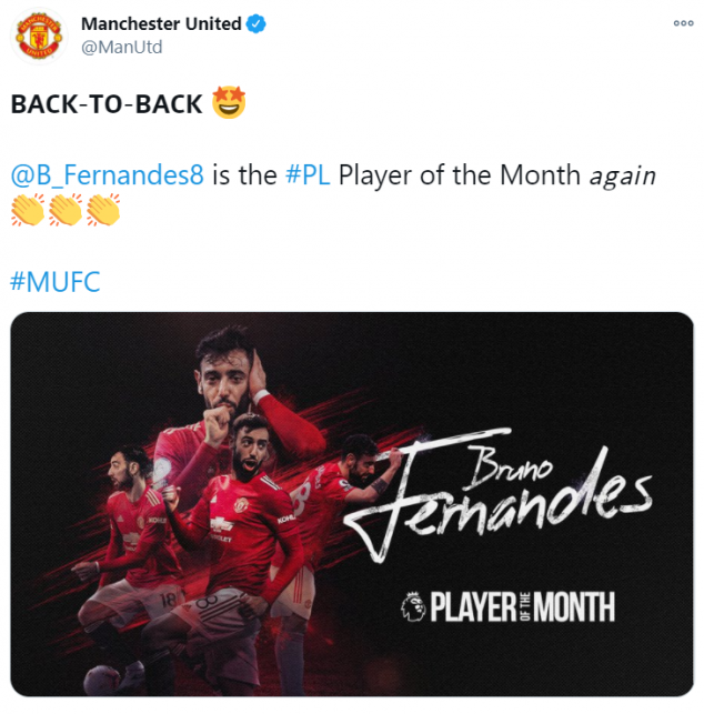 Bruno Fernandes, Manchester United, December Player of the Month, English Premier League