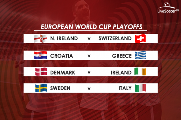 Northern Ireland, Switzerland, Croatia, Greece, Denmark, Republic of Ireland, Sweden, Italy, European World Cup playoffs, 2018 World Cup, World Cup qualifying