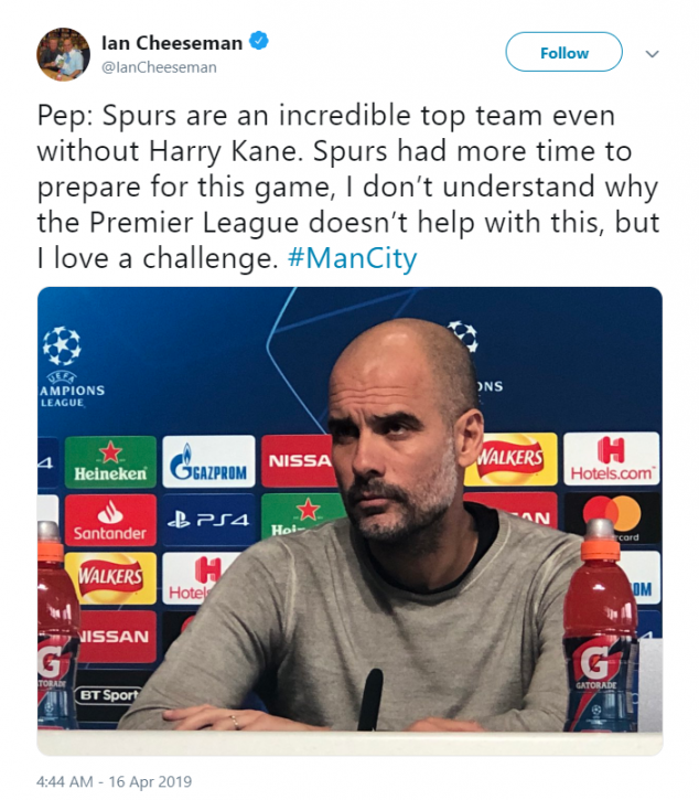 Pep Guardiola, Manchester City, Tottenham, UEFA Champions League