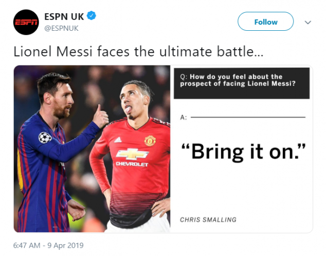 Lionel Messi, Chris Smalling, Manchester United, Barcelona, UEFA Champions League