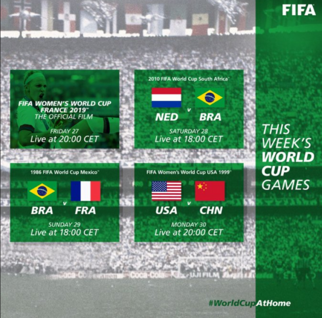 #WorldCupAtHome, FIFA Men's World Cup, FIFA Women's World Cup, Netherlands, Brazil, Brazil, France, USWNT, CHINA PR